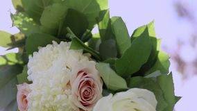 Κλείστε αυξημένος των λουλουδιών που συνδέονται με μια πέργκολα για έναν υπαίθριο γάμο Κλίση μέχρι τον ουρανό απόθεμα βίντεο