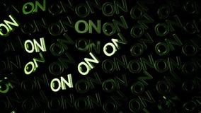 Κλείστε επάνω για πολλές λέξεις ΕΠΑΝΩ στο πράσινο χρώμα και το ρεύμα του φωτός στο μαύρο υπόβαθρο : Κύριες αγγλικές επιστολές ελεύθερη απεικόνιση δικαιώματος