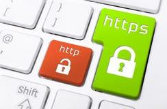 Κλείστε επάνω ενός πληκτρολογίου με τα κουμπιά HTTPS και HTTP με τα εικονίδια κλειδαριών Στοκ εικόνες με δικαίωμα ελεύθερης χρήσης