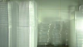 Κλείστε επάνω πολλά καθαρά πλαστικά κιβώτια για τη συσκευασία τροφίμων φιλμ μικρού μήκους