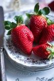Κλείστε επάνω σε μια κόκκινη όμορφη φράουλα στοκ εικόνες
