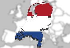 Κλείστε επάνω στο χάρτη Netherland στο υπόβαθρο της Ευρώπης Στοκ Εικόνα