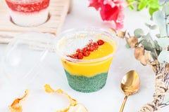 Κλείστε επάνω στο vegan επιδόρπιο μικροπράγματος που γίνεται με το spirulina μάγκο φρούτων Αγγλική κουζίνα Κλείστε επάνω την οριζ στοκ φωτογραφία με δικαίωμα ελεύθερης χρήσης