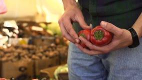 Κλείστε επάνω την άποψη των χεριών νεαρών άνδρων επιλέγοντας το πιπέρι στην αγορά φρούτων απόθεμα βίντεο