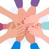 Κλείστε επάνω την εικόνα των νέων σπουδαστών που κάνουν έναν σωρό των χεριών Έννοια ίδρυσης επιχείρησης και ομαδικής εργασίας - δ διανυσματική απεικόνιση