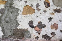 Κλείστε επάνω την επιφάνεια υψηλής ανάλυσης του ηλικίας και ξεπερασμένου χρώματος σε έναν τοίχο στοκ φωτογραφίες
