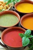 Κλείστε επάνω την ποικιλία της σούπας κρέμας λαχανικών Στοκ Εικόνες
