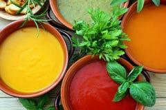 Κλείστε επάνω την ποικιλία της σούπας κρέμας λαχανικών Στοκ φωτογραφία με δικαίωμα ελεύθερης χρήσης