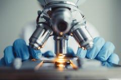 Κλείστε επάνω της εξέτασης του δείγματος δοκιμής κάτω από το μικροσκόπιο Στοκ Εικόνα