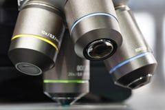 Κλείστε επάνω της εξέτασης του δείγματος δοκιμής κάτω από το μικροσκόπιο στο εργαστήριο Στοκ εικόνα με δικαίωμα ελεύθερης χρήσης
