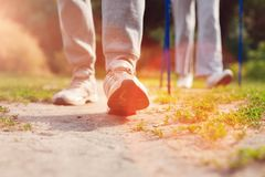Κλείστε επάνω της ηλικιωμένης οικογένειας που περπατά με τα δεκανίκια στοκ φωτογραφίες με δικαίωμα ελεύθερης χρήσης