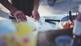 Κλείστε επάνω της κατασκευής της τηγανίτας στην οδό Samui από την παραλία Ταϊλάνδη 1920x1080 απόθεμα βίντεο