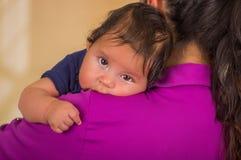 Κλείστε επάνω της νέας μητέρας την κρατά λίγο μωρό, mom φορώντας τα μπλε ενδύματα πορφυρών μπλουζών και μωρών, θολωμένο Στοκ φωτογραφία με δικαίωμα ελεύθερης χρήσης