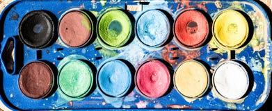 Κλείστε επάνω της παλέτας watercolours Στοκ Εικόνες