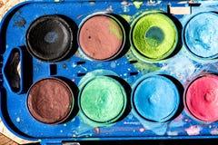 Κλείστε επάνω της παλέτας watercolours Στοκ Φωτογραφίες