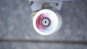 Κλείστε επάνω της περιστροφής skateboard της ρόδας στο συγκεκριμένο υπόβαθρο Ακραίος αθλητισμός, αστικός αθλητισμός πολιτισμού φιλμ μικρού μήκους