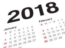 Κλείστε επάνω της πρώτης ημέρας του έτους 2018 στο ημερολόγιο ημερολογίων Στοκ Φωτογραφία