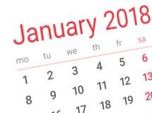 Κλείστε επάνω της πρώτης ημέρας του έτους 2018 στο ημερολόγιο ημερολογίων Στοκ Φωτογραφίες