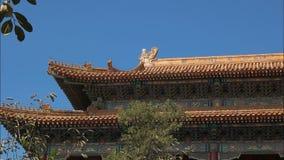 Κλείστε επάνω της στέγης της απαγορευμένης πόλης, Πεκίνο απόθεμα βίντεο