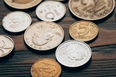 Κλείστε επάνω της συλλογής των νομισμάτων Στοκ Εικόνες