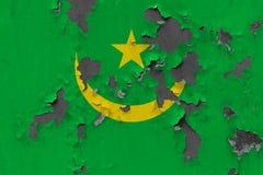 Κλείστε επάνω τη βρώμικη, χαλασμένη και ξεπερασμένη σημαία της Μαυριτανίας στην αποφλοίωση τοίχων από το χρώμα για να δείτε την ε στοκ εικόνες