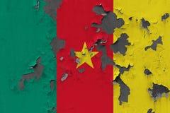 Κλείστε επάνω τη βρώμικη, χαλασμένη και ξεπερασμένη σημαία του Καμερούν στην αποφλοίωση τοίχων από το χρώμα για να δείτε την εσωτ στοκ εικόνες