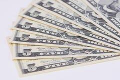 Κλείστε επάνω τη σημείωση ενός και πέντε δολαρίου Στοκ εικόνα με δικαίωμα ελεύθερης χρήσης