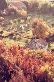 Κλείστε επάνω τη φωτογραφία της αγροτικής σκηνής, κόκκινο φίλτρο Στοκ Φωτογραφίες