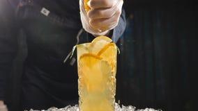 Κλείστε επάνω τον αρχιμάγειρα χεριών που συμπιέζει το πορτοκάλι επάνω στο κοκτέιλ νωπών καρπών σε σε αργή κίνηση χυμός που στάζει απόθεμα βίντεο