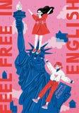 Κλείστε επάνω του αγάλματος της ελευθερίας, πόλη της Νέας Υόρκης ελεύθερη απεικόνιση δικαιώματος