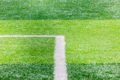 Κλείστε επάνω του αγωνιστικού χώρου ποδοσφαίρου με τη γραμμή και την έννοια χλόης, αθλητισμού και παιχνιδιού Στοκ Εικόνα