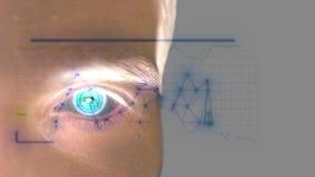 Κλείστε επάνω του αρσενικού ματιού με την ανίχνευση ίριδων Μελλοντική τεχνολογία, αναγνώριση ταυτότητας και έννοια όρασης o 3840x ελεύθερη απεικόνιση δικαιώματος