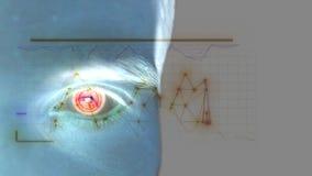 Κλείστε επάνω του αρσενικού ματιού με την ανίχνευση ίριδων Μελλοντική τεχνολογία, αναγνώριση ταυτότητας και έννοια όρασης Μπλε άτ απόθεμα βίντεο