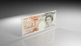 Κλείστε επάνω του βρετανικού τραπεζογραμματίου λιβρών κατά την άποψη περιστροφής απόθεμα βίντεο