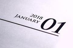 Κλείστε επάνω του Ιανουαρίου του 2018 στο ημερολόγιο ημερολογίων Στοκ φωτογραφία με δικαίωμα ελεύθερης χρήσης