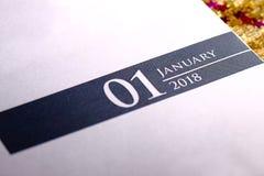 Κλείστε επάνω του Ιανουαρίου του 2018 στο ημερολόγιο ημερολογίων Στοκ Εικόνα