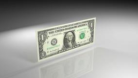Κλείστε επάνω του τραπεζογραμματίου δολαρίων κατά την άποψη περιστροφής φιλμ μικρού μήκους