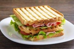 Κλείστε επάνω του φρέσκου σάντουιτς με το ζαμπόν, μπέϊκον, ντομάτες Στοκ Εικόνα