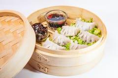 Κλείστε επάνω το διάφορο αμυδρό ποσό και τη σάλτσα στο ατμόπλοιο μπαμπού στο άσπρο υπόβαθρο που απομονώνεται Κινεζική κουζίνα, εκ Στοκ φωτογραφία με δικαίωμα ελεύθερης χρήσης