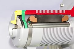 Κλείστε επάνω το οπίσθιο μέρος διατομής λεπτομέρειας και εσωτερικών αντλία ή τον ανεμιστήρα ηλεκτρομαγνητών τη φυγοκεντρική για β στοκ εικόνες με δικαίωμα ελεύθερης χρήσης
