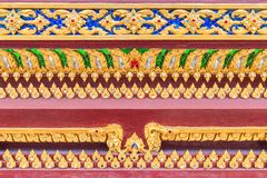 Κλείστε επάνω το σχέδιο Lai Ταϊλανδός στην ταϊλανδική βουδιστική εκκλησία βάσεων Στοκ φωτογραφίες με δικαίωμα ελεύθερης χρήσης