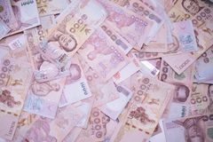 Κλείστε επάνω το ταϊλανδικό υπόβαθρο κινηματογραφήσεων σε πρώτο πλάνο τραπεζογραμματίων χρημάτων, χρήματα της Ταϊλάνδης για την ε στοκ εικόνες