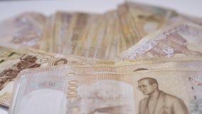 Κλείστε επάνω το ταϊλανδικό υπόβαθρο κινηματογραφήσεων σε πρώτο πλάνο τραπεζογραμματίων χρημάτων, χρήματα της Ταϊλάνδης για την ε στοκ φωτογραφίες