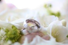 Κλείστε επάνω των ασημένιων γαμήλιων δαχτυλιδιών Στοκ Εικόνα
