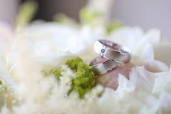 Κλείστε επάνω των ασημένιων γαμήλιων δαχτυλιδιών Στοκ Εικόνες