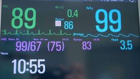 Κλείστε επάνω των διάφορων αριθμών και των δεικτών σε μια ιατρική οθόνη Μηνύτορας ECG φιλμ μικρού μήκους