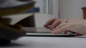 Κλείστε επάνω των λειτουργώντας χεριών στο lap-top στο παράθυρο πανοράματος Γυναίκα που εργάζεται στο lap-top στο windowsill Στοκ Εικόνα