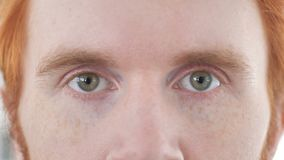 Κλείστε επάνω των ματιών του περιστασιακού Redhead ατόμου φιλμ μικρού μήκους