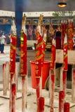 Κλείστε επάνω των μεγάλων κόκκινων ραβδιών θυμιάματος στο ναό Che Kung Στοκ εικόνα με δικαίωμα ελεύθερης χρήσης