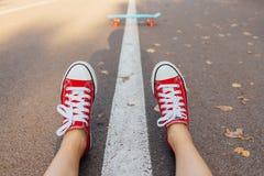 Κλείστε επάνω των ποδιών και του μπλε πίνακα σαλαχιών πενών με τις ρόδινες ρόδες Στοκ εικόνα με δικαίωμα ελεύθερης χρήσης